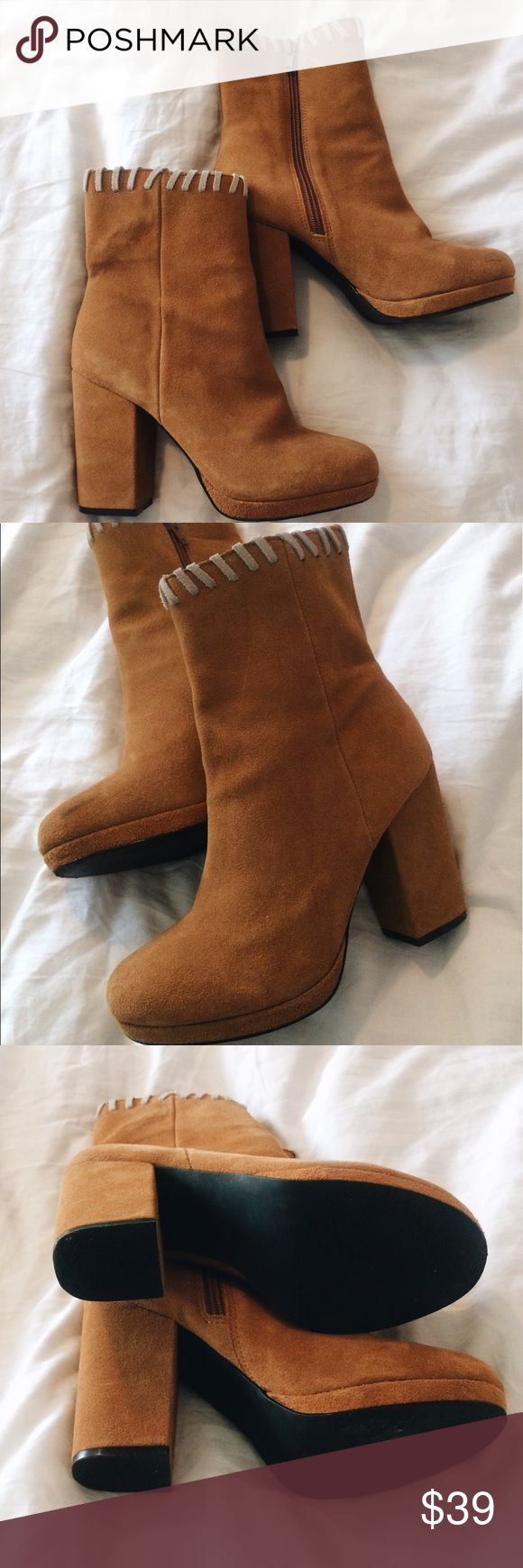 Tan Urban Outfitters heeled cow suede ankle boots Worn once!!! They are so cute and fun for almost any occasion. They're very true to size :) Urban Outfitters Shoes Heeled Boots