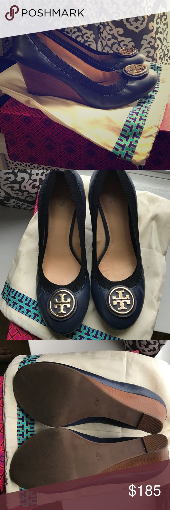 Tory Burch Blue Wedge Shoes These Tory Burch navy blue and black wedges are in near new condition. Worn 1 time.  They come with dust bag and box!  Beautiful shoes!! Tory Burch Shoes Platforms