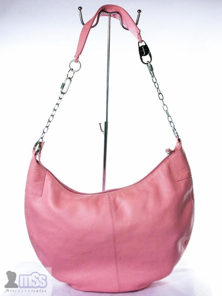 JASPER CONRAN 100% Leather Pink Chain Slouchy Bag Medium HOBO CHIC