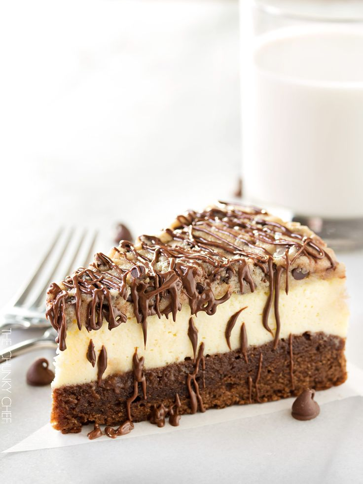 Brownie Bottom Cookie Dough Cheesecake    This impressive, yet super easy, brownie bottom cookie dough cheesecake looks as fancy as any dessert you've had from a restaurant!  The ULTIMATE cheesecake for the ULTIMATE dessert lover!     http://thechunkychef.stfi.re