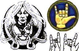 From the Satanic Bible: Horned Hand or The Mano Cornuto: This gesture is the Satanic salute, a sign of recognition between and allegiance of members of Satanism or other unholy groups.