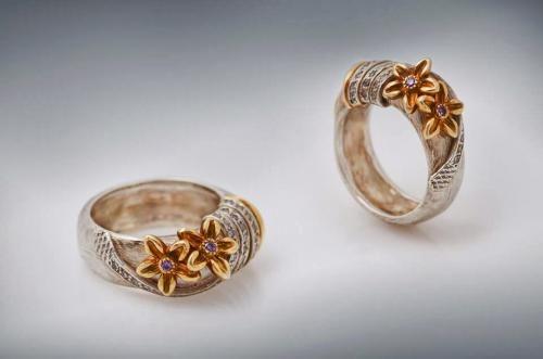 DAVID CHKHEIDZE RING 3 gold-plated silver, zircone.
