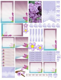 Lilacs / purple flowers / spring theme. Free planner printable stickers, sized for the large happy planner (print at 85% for regular happy planner). Stickers are free, but if you like them I ask you donate to my Alzheimer's Memory Walk. Stickers are through my facebook group: https://www.facebook.com/groups/plannerstickersforacure/
