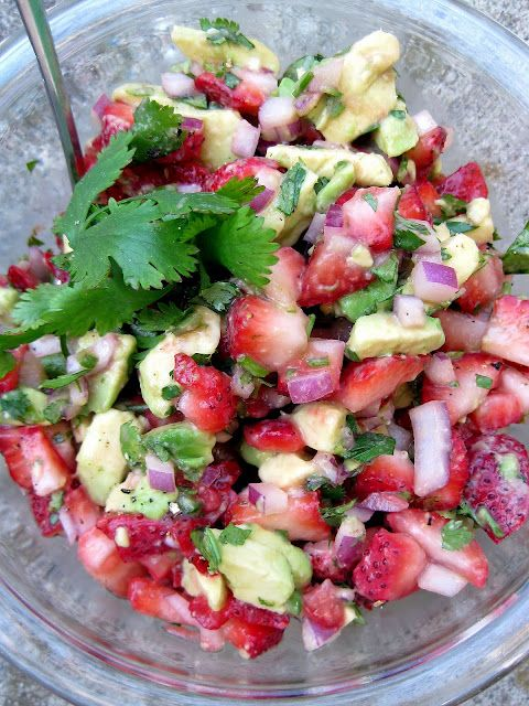 Strawberry Avacado Salsa: Strawberries, avocado, red onion, cilantro, fresh squeezed lime or lemon juice, with salt and pepper to taste! Great over fish, as a dip, or over a bed of fresh spinach for a salad!  I'm going to try this with honey mixed with water instead of evaporated cane sugar