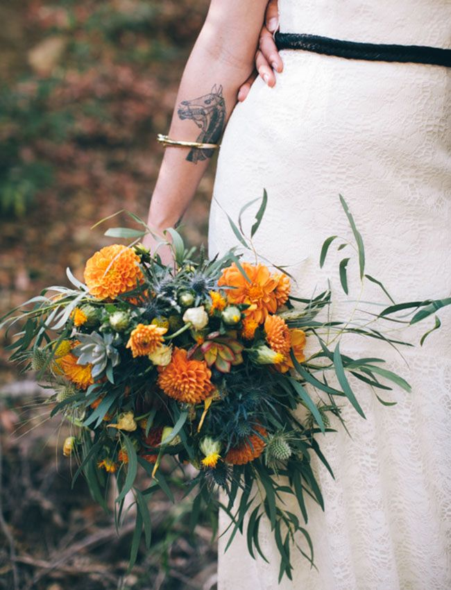 whimsical orange + blue bouquet