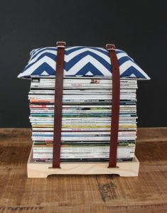 This contemporary magazine stool offers you a creative way to store your favourite magazines. How clever!! Purchase it at www.wave2africa.com