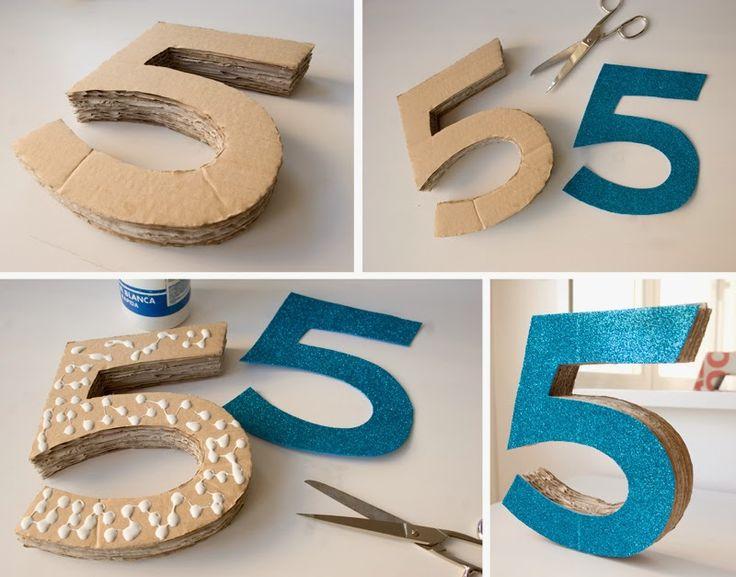 Diy número 5 en 3d con cartón3