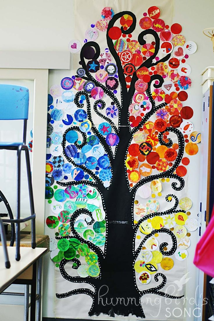 Paint the tree then give the kids unlimited number of circles- keep designs in a color family. .. OR give the kids cameras/ take tons of pics of each kid colorize in photoshop.
