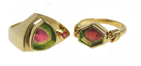 Two rings by artist Patrick Murphy, featuring watermelon tourmaline in yellow gold.