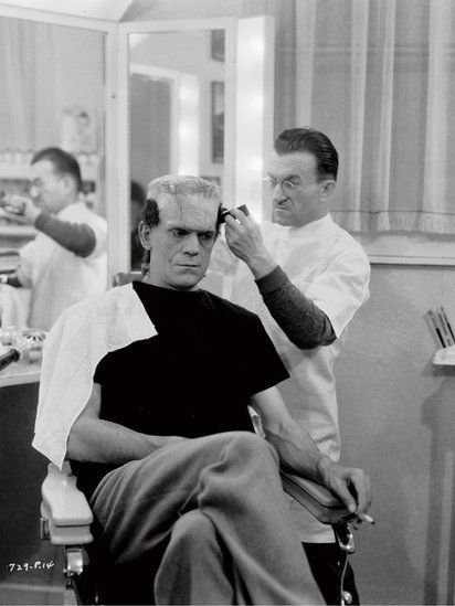 Make-up artist Jack P Pierce transforms Boris Karloff into the monster for Bride of Frankenstein, Universal, 1935