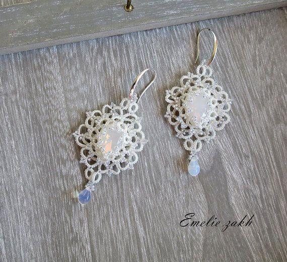 Tatting lace chandelier earrings.Earrings frivolite.White opal crystal swarovski earrings.Long earrings.Victorian style Filigrees earrings