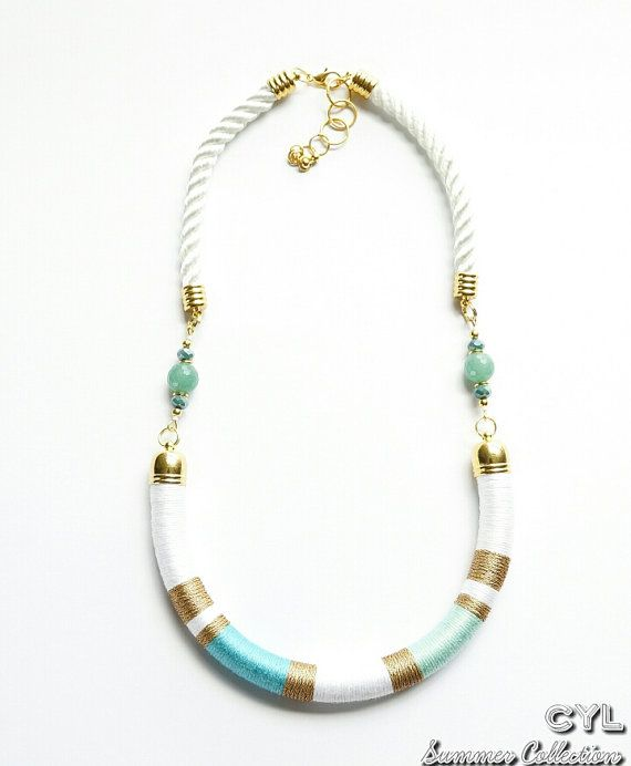 Thread wrapped beach colours rope necklace by ColoursYouLike, £40.00