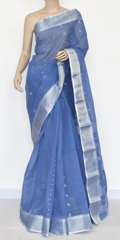 Greyish Blue Handwoven Bengali Tant Cotton Saree (Without Blouse) 17335