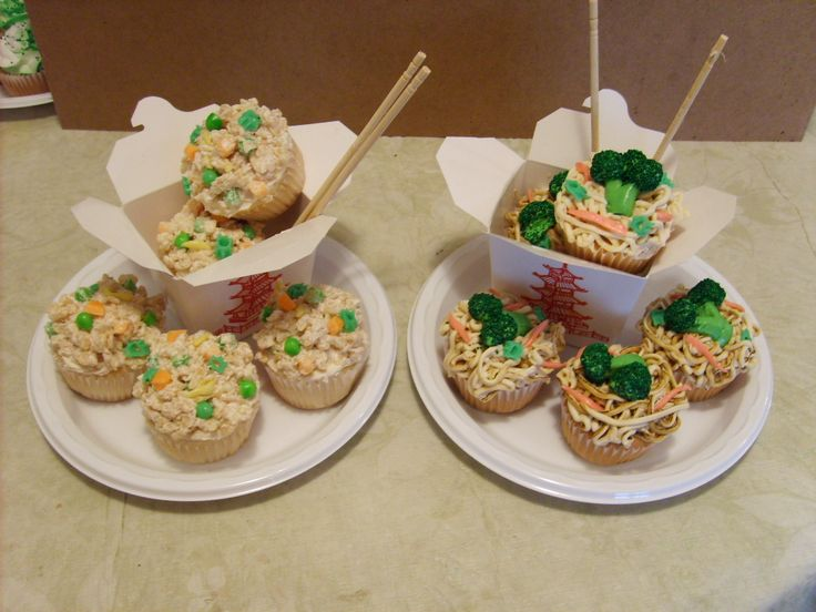Chinese Food...????  Cupcakes....!!! - I  made these for my grandson's 10th birthday...he loved them....I got the idea from the 2nd Hello Cupcake book.....the food is made from an assortment of candies....they were a big hit......