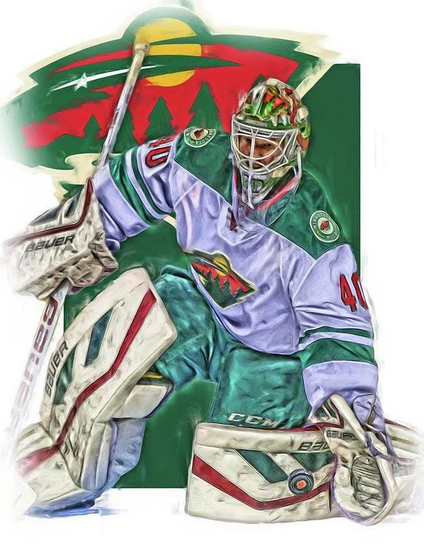 Devan Dubnyk Print featuring the mixed media Devan Dubnyk Minnesota Wild Oil Art by Joe Hamilton