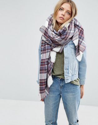 ASOS Oversized Square Scarf in White Based Plaid