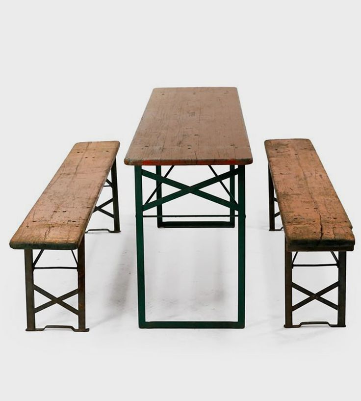 vintage biergarten table benches