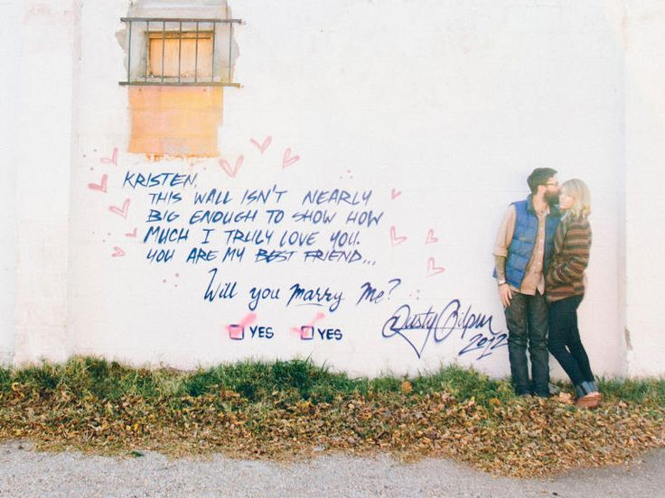 "Graffiti ""I Love You!"" marriage proposal. There's some pretty cool ideas on this link."