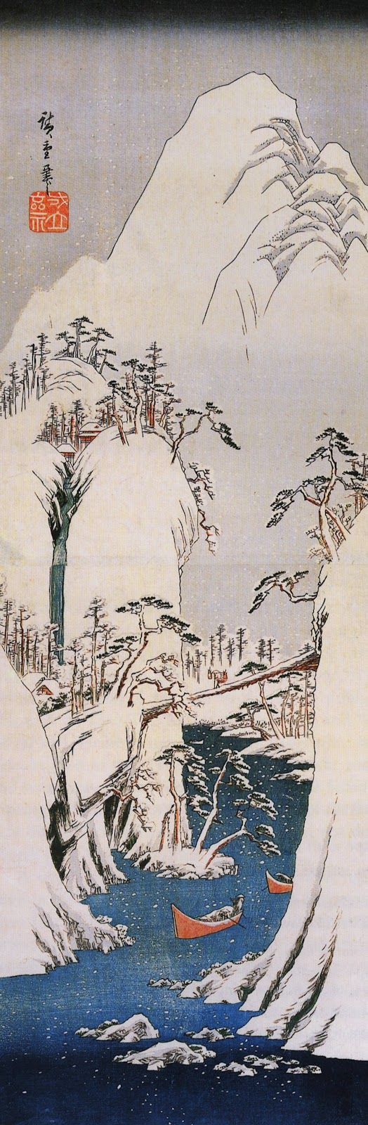 Snowy Gorge by Utagawa Hiroshige  (Japanese, 1797–1858)  Period: Edo period (1615–1868) Culture: Japan Medium: Polychrome woodblock print; ink and color on paper