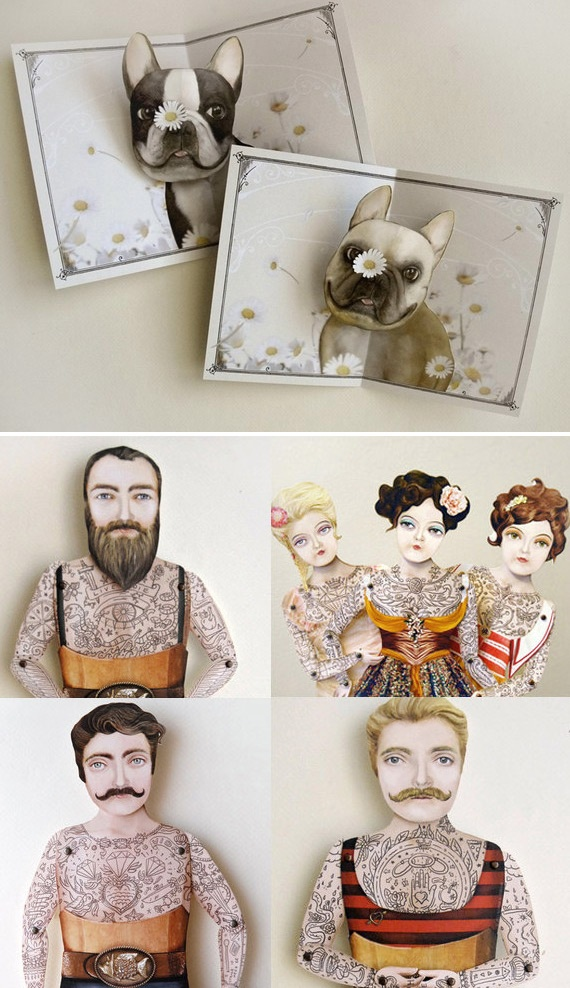 "Etsy seller ""CrankBunny"" makes handmade 3D pop up cards, paper puppets, personalized custom greeting cards, hand cut-out paper toys and other nostalgic novelty craft items. Love her designs."