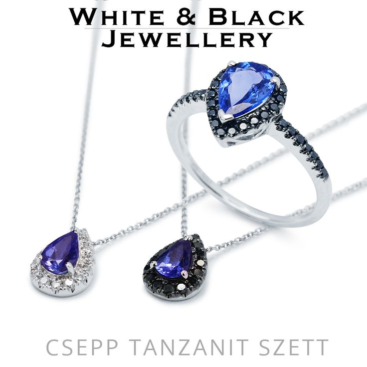 Tanzanit ékszer szett fehér s fekete géymántokkal - Tanzanite jewelry set with either black or white diamonds