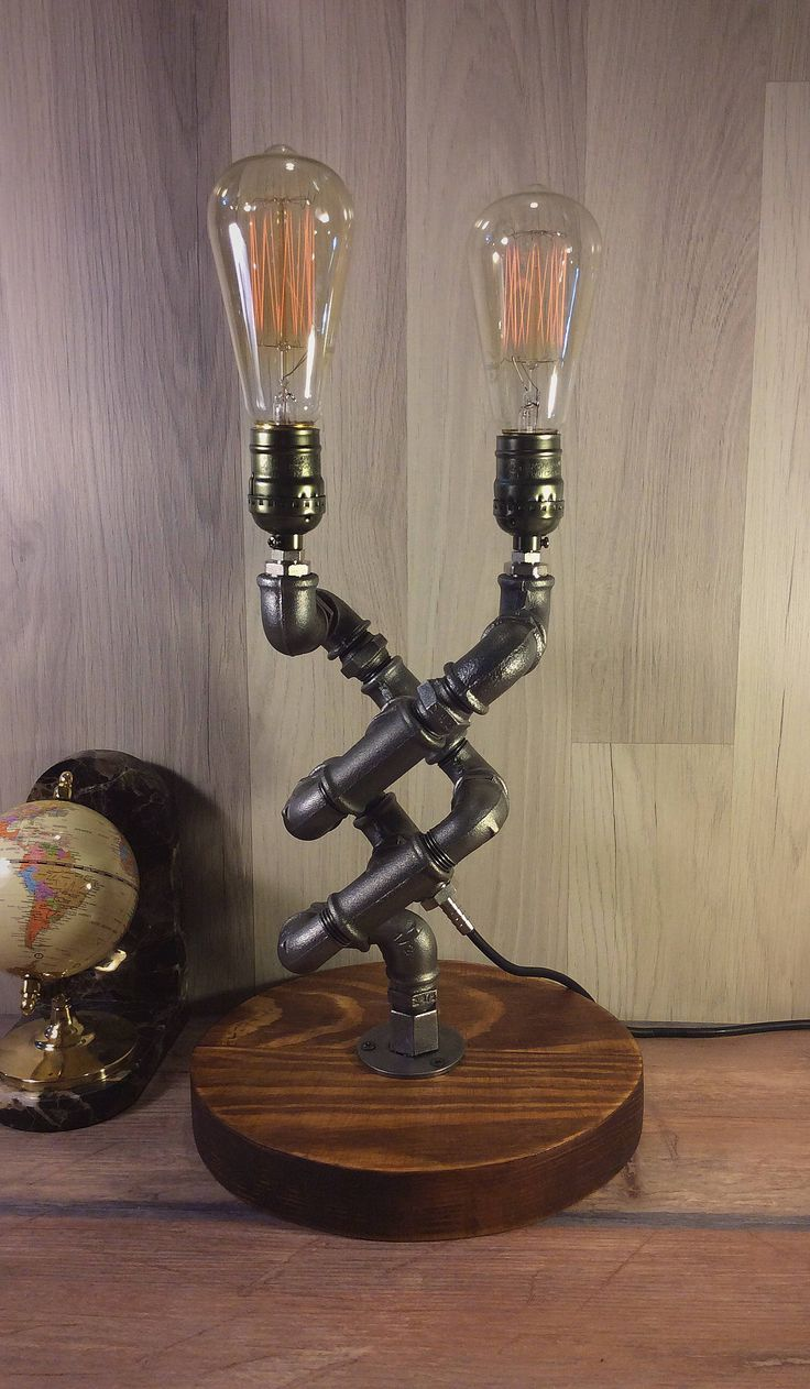 Excited to share the latest addition to my #etsy shop: Rustic decor, Unique Table Lamp, Industrial lighting, Steampunk Light, Housewarming, Gift for men, Desk accessories, Bedside Pipe lamp