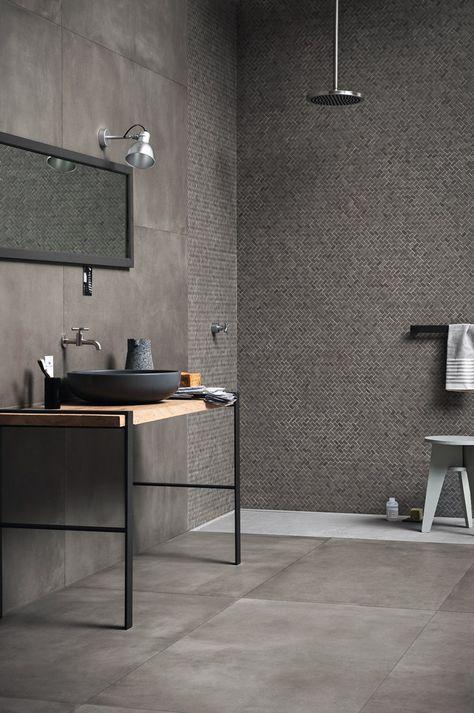 Wand Und Bodenbelag Aus Ganzkorper Feinsteinzeug Mit Beton Effekt