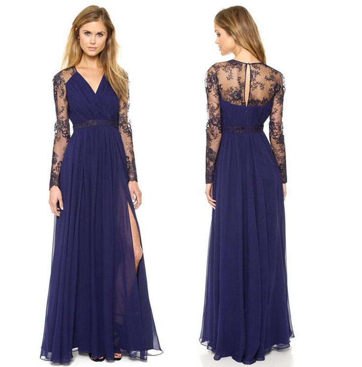 Blue Lace Floral Lace chiffon Boho Long Maxi Casual Party Cocktail Evening Dress #Handmade #Maxi #Cocktail