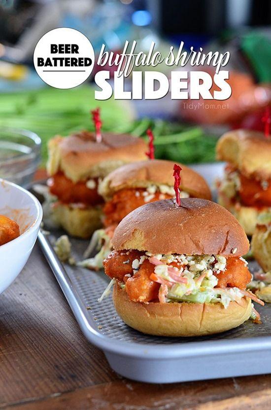 Beer Battered Buffalo Shrimp Sliders