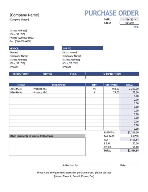 Download the Purchase Order from Vertex42.com