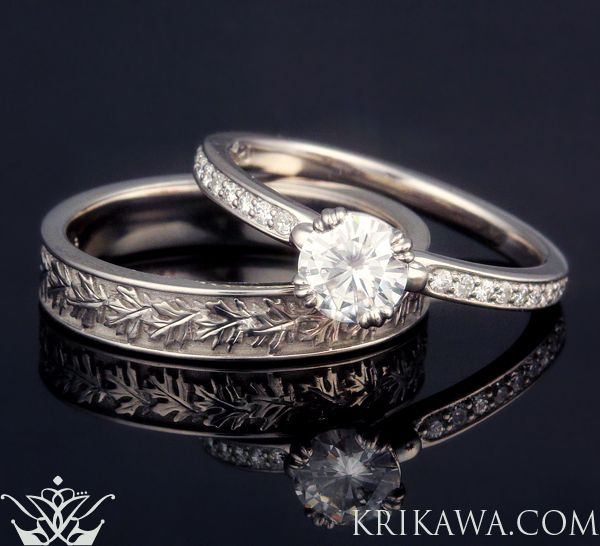 Match Our Carved Leaf Pave Engagement Ring With One Of Wedding Bands For A
