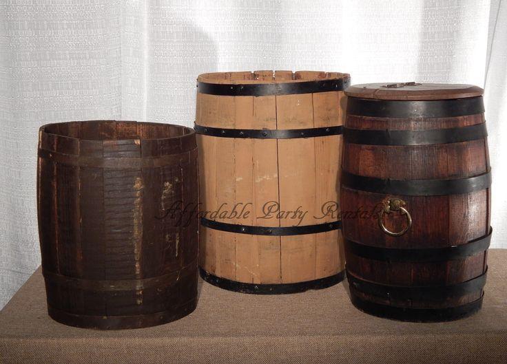 small wooden barrels buckets drums #vintageweddings #aprtenn #memphisweddings #affordablepartyrentals www.affordablepartyrentals.com