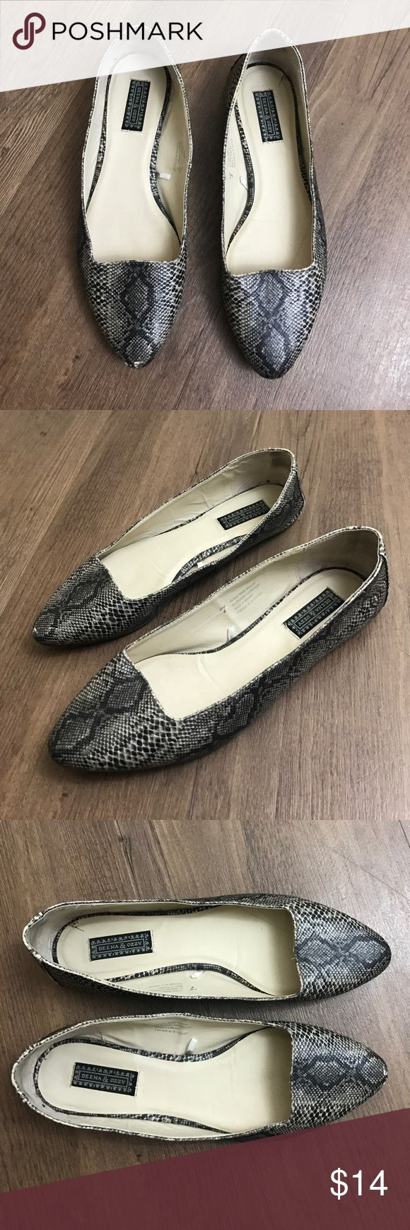 DEENA & OZZY Snake Print Pointy Toe Flats Size 7 Great used condition - (very small scratch on tip of one of shoes (see photos)  Size 7 - FAST SHIPPING Deena & Ozzy Shoes Flats & Loafers