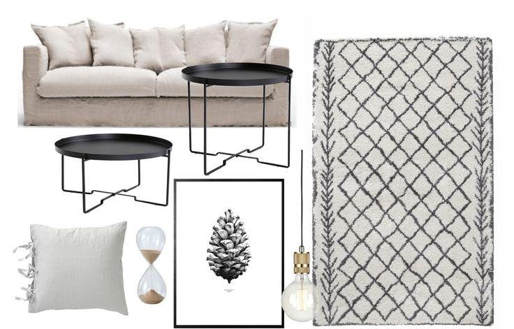Soffa- Här / Lågt soffbord- HÄR / Högt soffbord- HÄR / Matta- HÄR / Kudde- HÄR / Poster- HÄR / Timglas- HÄR Lampa- HÄR  Här har ni ett hopplock av mitt vardagsrum som just nu går i tonerna grå…