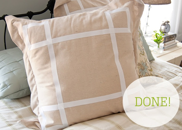 The Thrifty Abode: DIY Ribbon Embellished Euro Pillow Shams Awesome Ideas