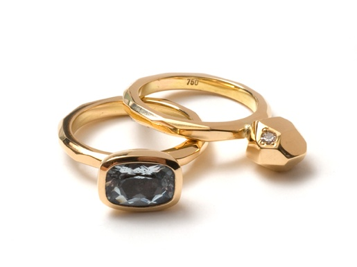 Krista McRae:  'Facetted Band with Solitaire' Ring: 18ct yellow gold…