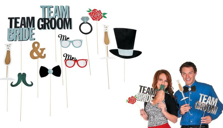 Wedding Party Photo Booth Props (12).  Are you a supporter of Team Bride or Team Groom? Give your wedding photos a dash of unforgettable flair by adding these glittering photo props to your special day!  Includes (12) twelve x 8.89 cm - 24.1 cm x 8.25 cm - 25.4 cm cardboard cutouts on 30.5 cm wooden sticks.  assorted designs