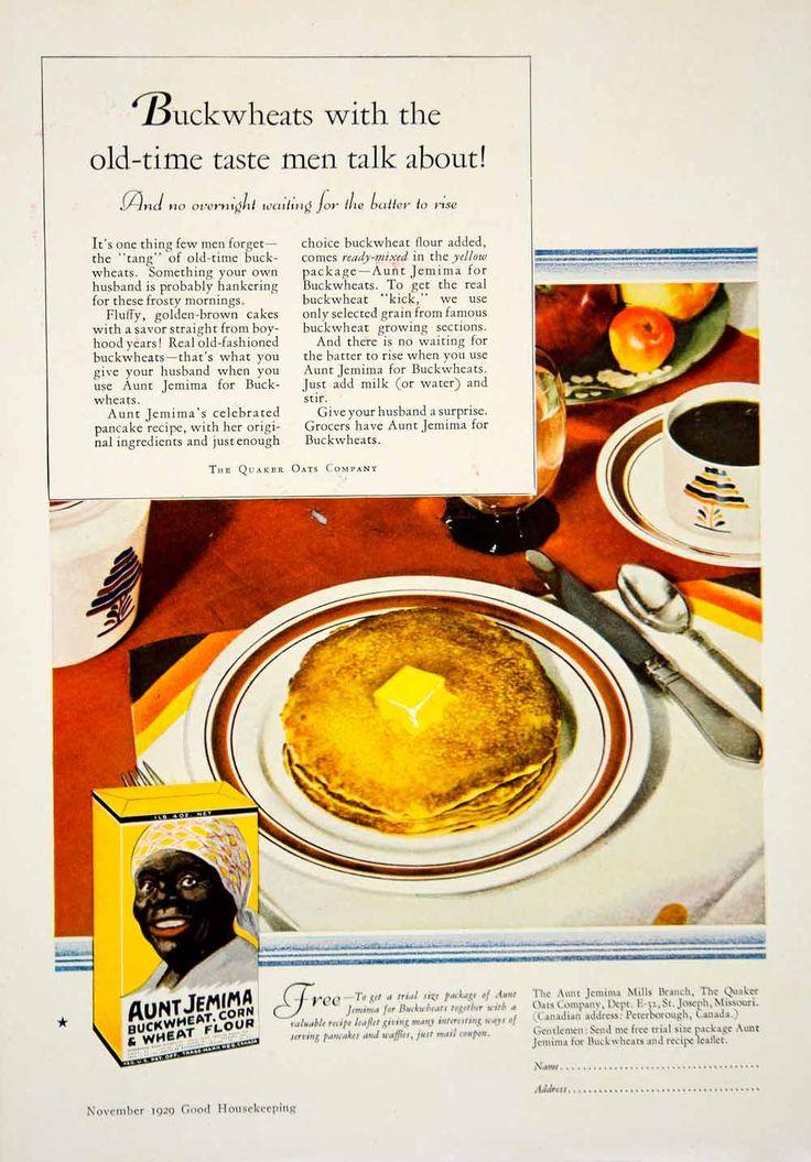 1929 ad aunt jemima buckwheat corn flour pancakes black
