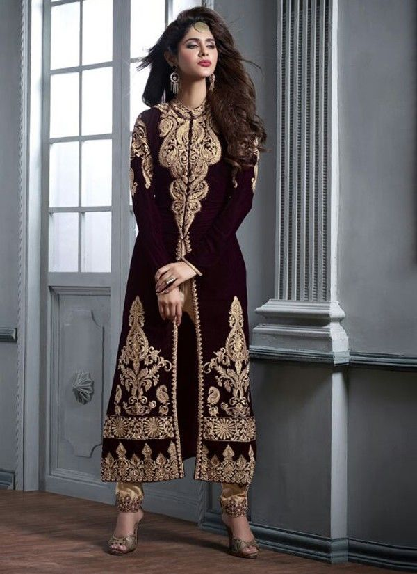 Maroon and Gold Velvet Anarkali