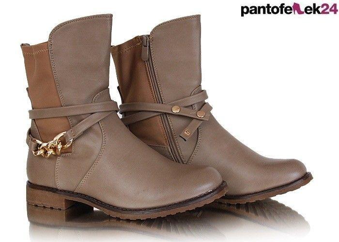 Botki w kolorze brązowym ze złotymi elementami / Brown boots with golden elements / 59,90 PLN #brown #winter #autumn #fashion #gold