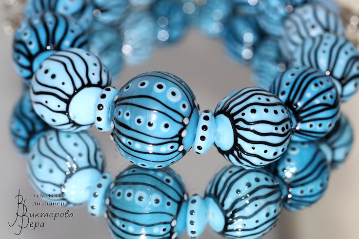 """Collection Necklace """"Magic graphics. Sky magic."""" Artisan lampwork hollow beads, sterling silver."""