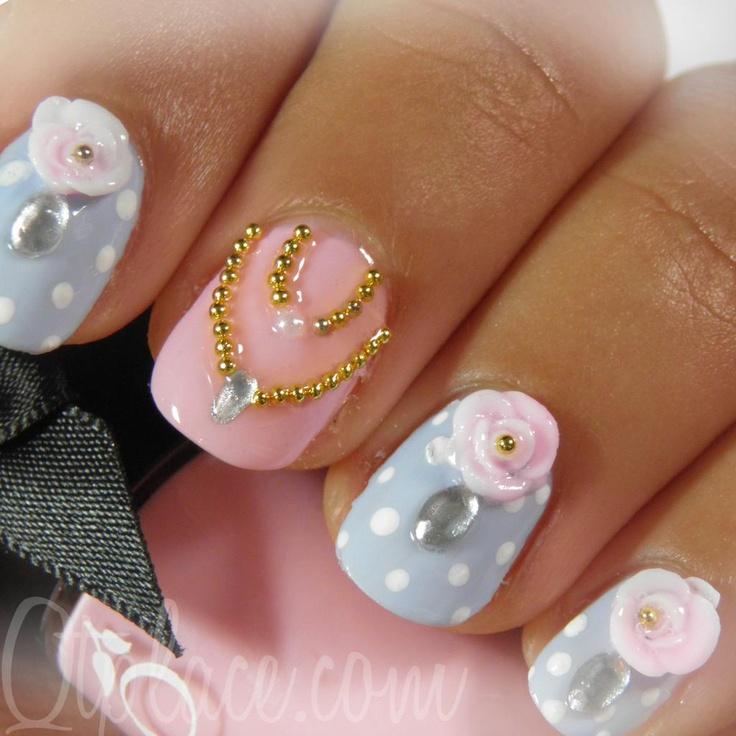 pastel polka dot floral nails nailart