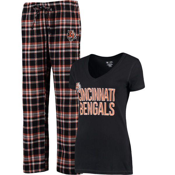 Cincinnati Bengals Concepts Sport Women's Tiebreaker T-Shirt and Flannel Pajama Pant Set - Black - $44.99