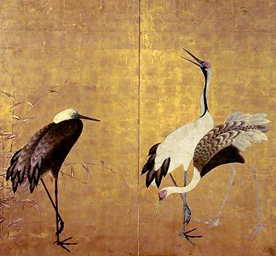 Two-panel Japanese Kano-school screen painting of cranes on gold leaf, early Edo Genroku period, c. 1700 <3
