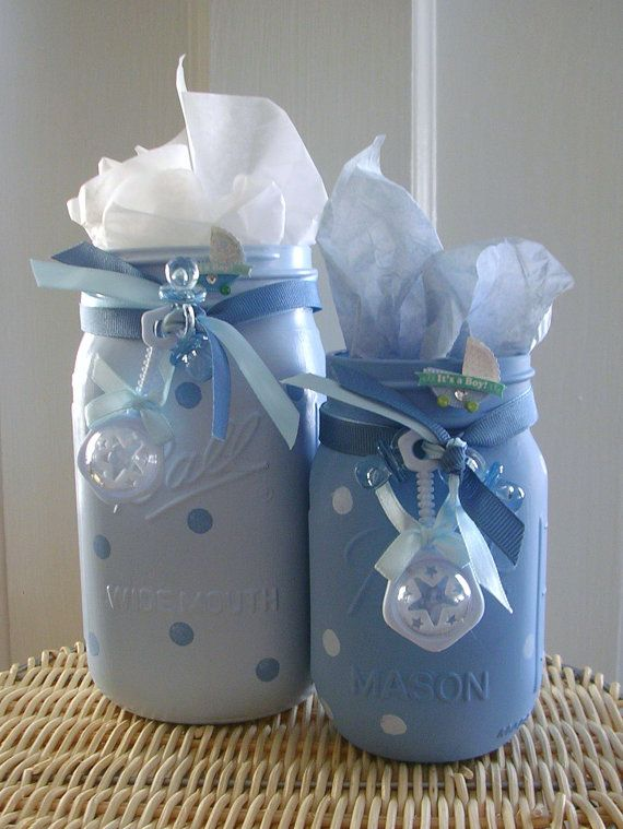Boy Shower Painted Mason Jars/Baby Storage by MonikasBoutique