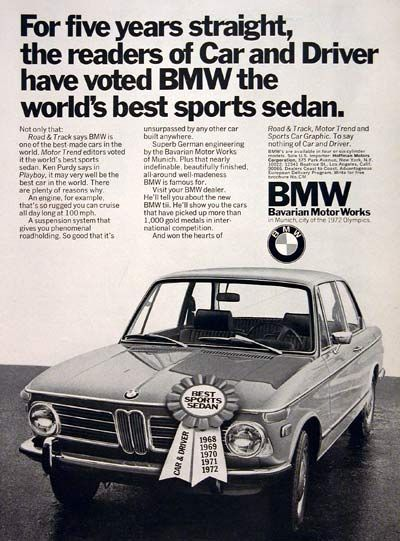 1972 BMW Coupe vintage ad. Voted best sports sedan for five years straight by the readers of Car and Driver. In Munich, city of the 1972 Olympics.
