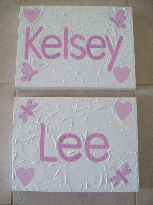 Handpainted Girls Name canvas  30cm x 40cm   $55- each + postage  Custom made to suit individuals decor