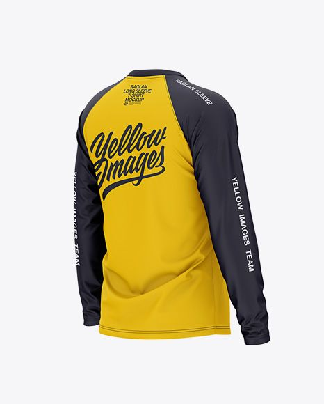 Download Mens Raglan Long Sleeve T-Shirt Back Half Side View Jersey ...