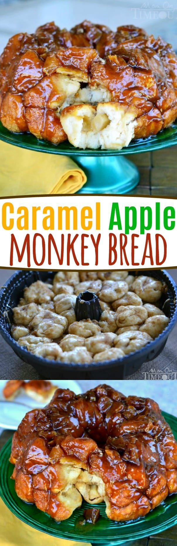 Caramel Apple Monkey Bread - if you love caramel apples, you're going to love this monkey bread! Oozing with caramel and fresh apples, it's the perfect way to start or end your day! Great for breakfast, brunch, dessert or anything in between! // Mom On Timeout