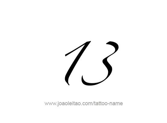 Desenho de Tatuagem do Número 13